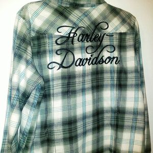 Green Embroidered Long Sleeve Flannel